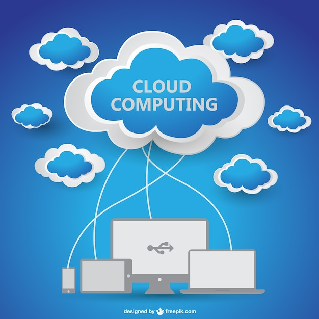 Clouds connected to electronic devices Vector | Free Download