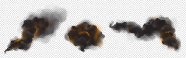 火からのオレンジ色のバックライトと黒い煙の雲。 無料ベクター