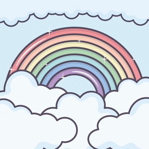 Clouds sky with rainbow weather Free Vector