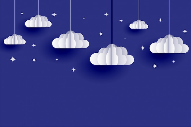 Clouds and stars background in papercut style Free Vector