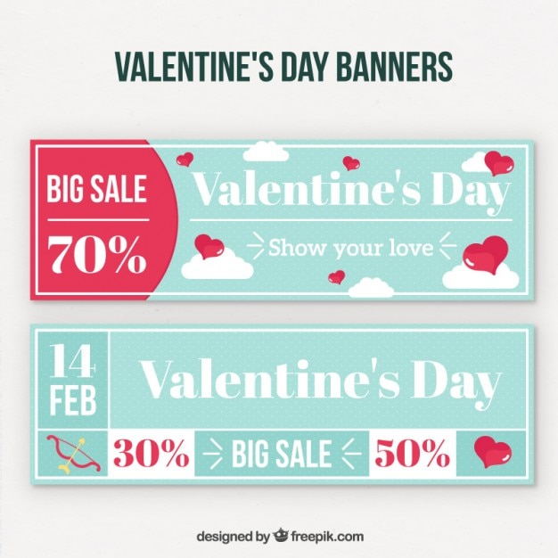 d8eba5c438 Clouds valentine day offer coupons pack Vector | Free Download