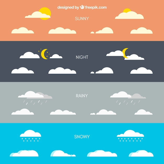 86ed41f995 Clouds with different weather conditions Free Vector