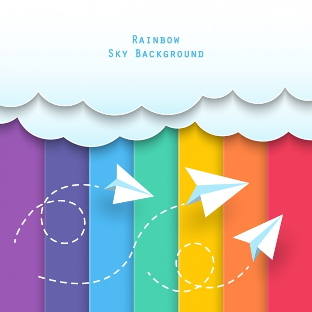 Clouds with paper airplanes Free Vector