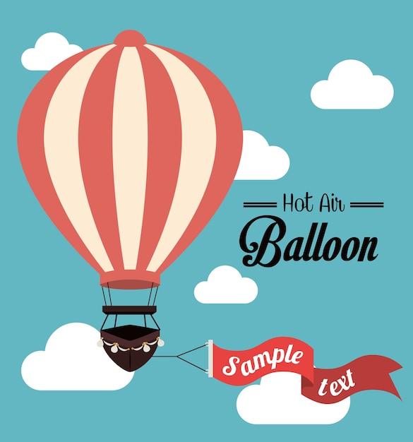 Cloudscapeの背景ベクトル図上のairballoonのデザイン Premiumベクター