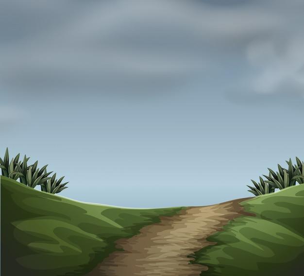 Una scena di natur nuvoloso Vettore gratuito