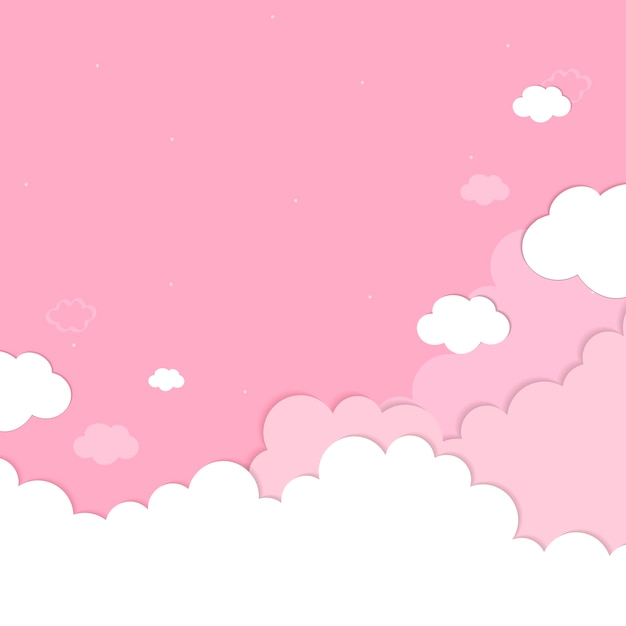 Cloudy pink sky background Free Vector