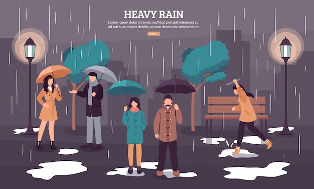 Cloudy rainy day banner Free Vector
