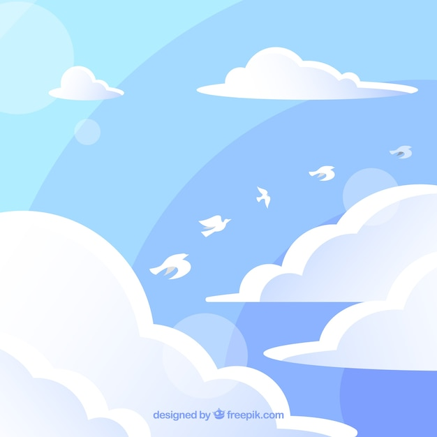 Cloudy sky background with birds flying in flat\ style
