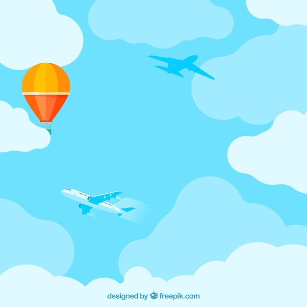 cloudy sky background with colorful balloon flying vector free rh freepik com vector skylines vector skydiving rig