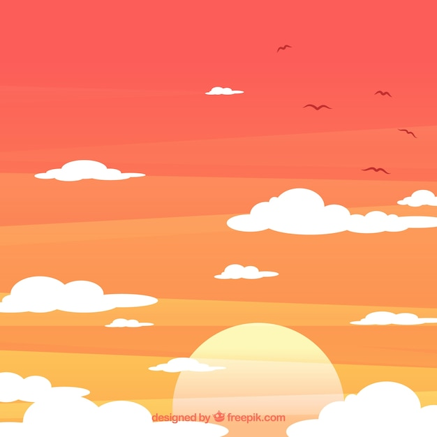 Cloudy sky background with sun and birds in\ flat style
