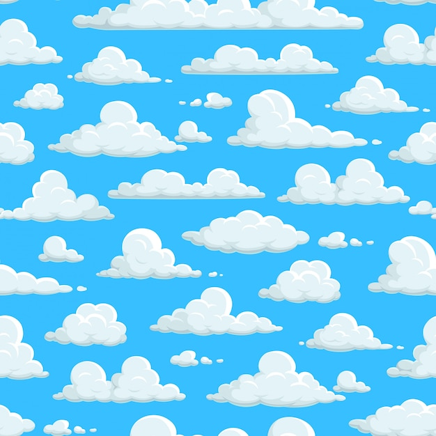 Cloudy Sky Seamless Pattern Clouds Background Wallpaper Clouds Pattern On Abstract Blue Sky Background Fluffy Cartoon Cloudscape Sunny Weather Nature Easter Heaven And Kid Decoration Premium Vector