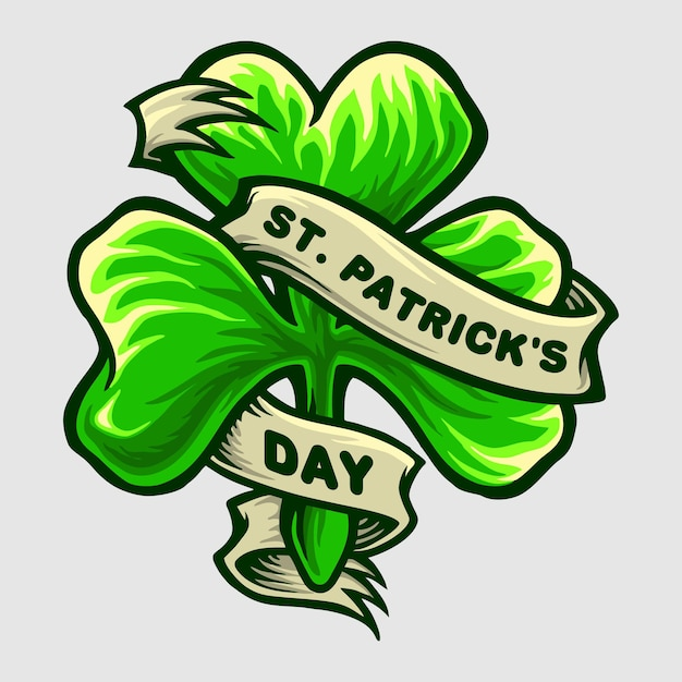 Clover leaf logo st patricks day party illustration Premium Vector