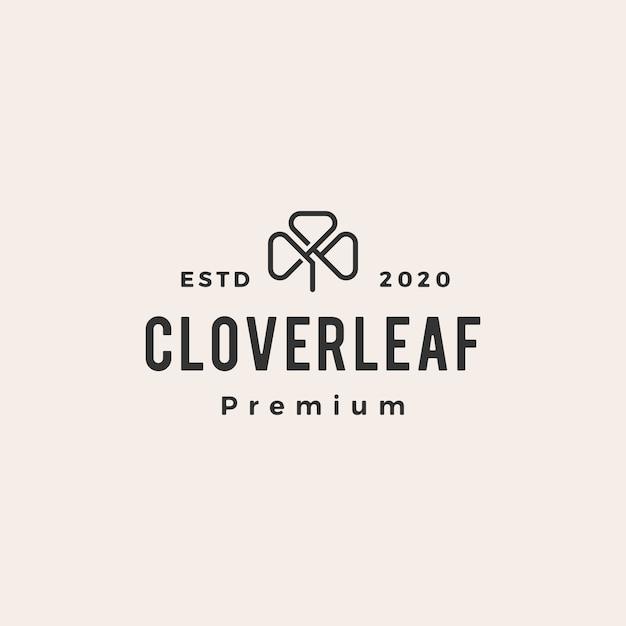 Clover leaf  vintage logo  icon illustration Premium Vector