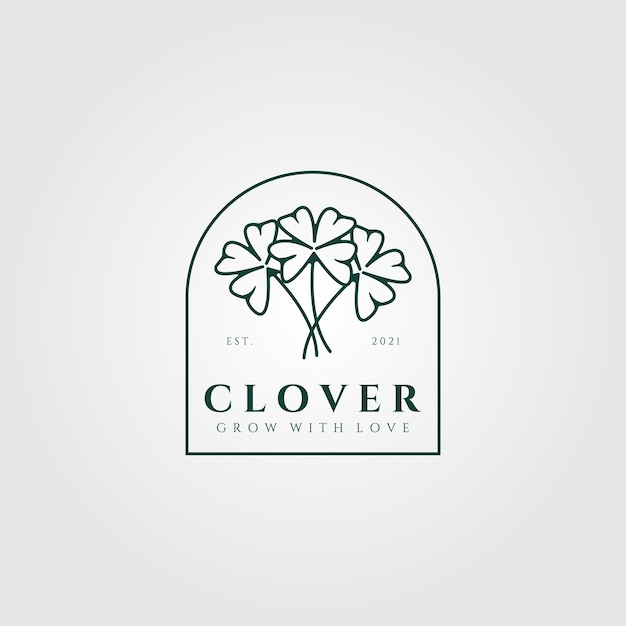 Clover leaf vintage logo illustration Premium Vector