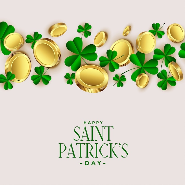 Clover leaves with golden coins st patricks background Free Vector