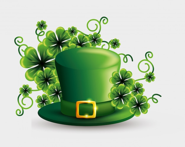 Clovers plants and hat for st patrick's day Free Vector