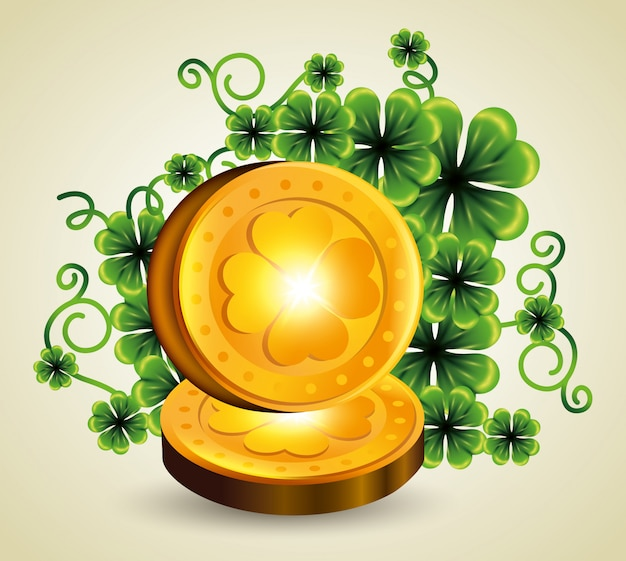 Clovers plants with gold coins for st patrick's day Free Vector