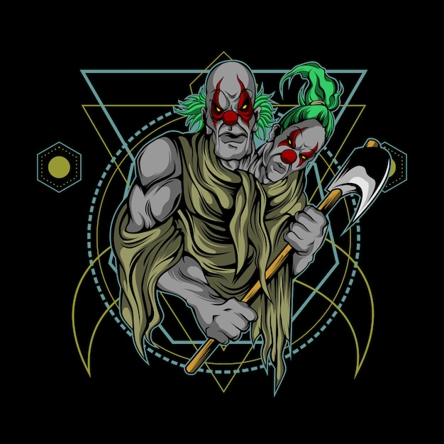 Clown brothers sacred geometry Premium Vector