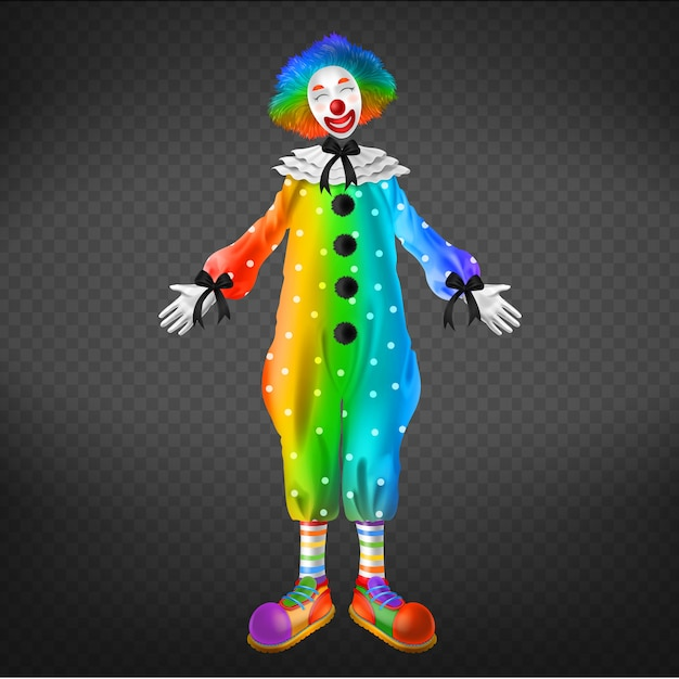 Clown in circus, party man isolated on transparent background. Free Vector