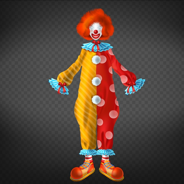 Clown costume with big, funny shoes, red wig, face mask and red nose Free Vector