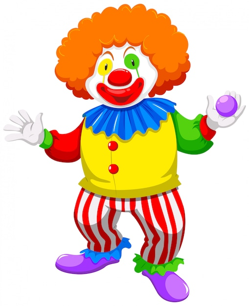 Clown holding a ball Free Vector