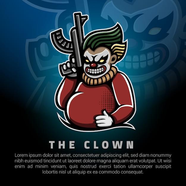 Clown holding a big gun logo template Premium Vector