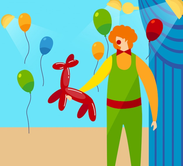 Clown holding in hands red balloon in shape of dog Premium Vector