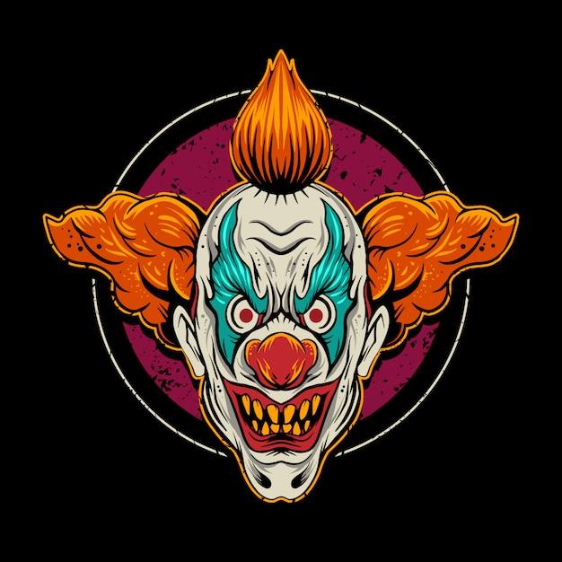 Clown  illustration with circle Premium Vector