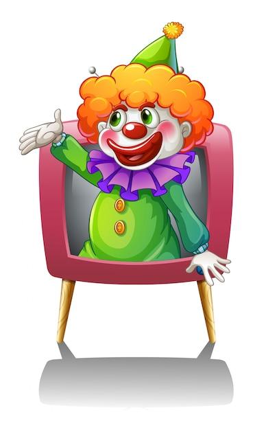A clown inside a pink tv Free Vector