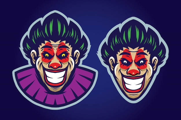Clown mascot set Premium Vector
