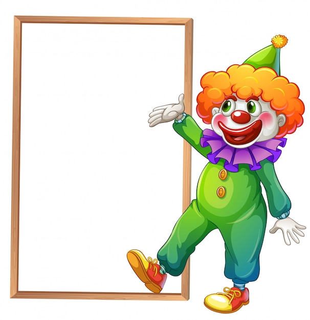A clown pointing at the white board Free Vector