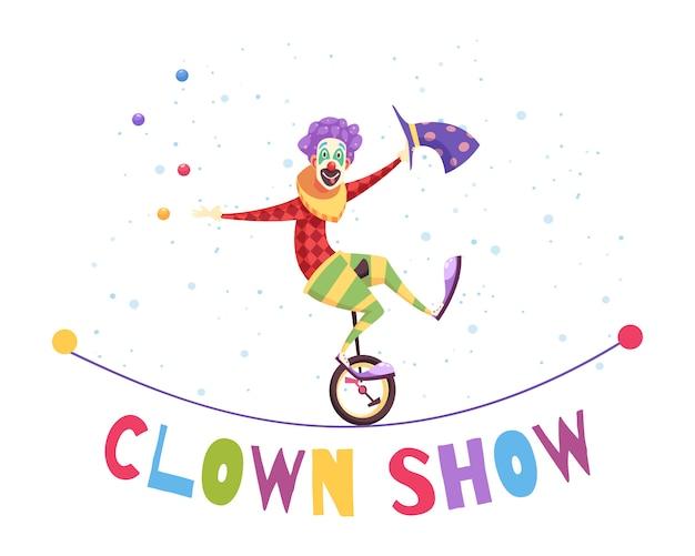 Clown show illustration Free Vector