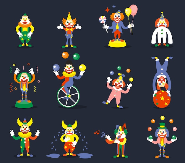 Clown vector characters set. smile or cry, juggle performer, show carnival, comedian and joker illustration Free Vector