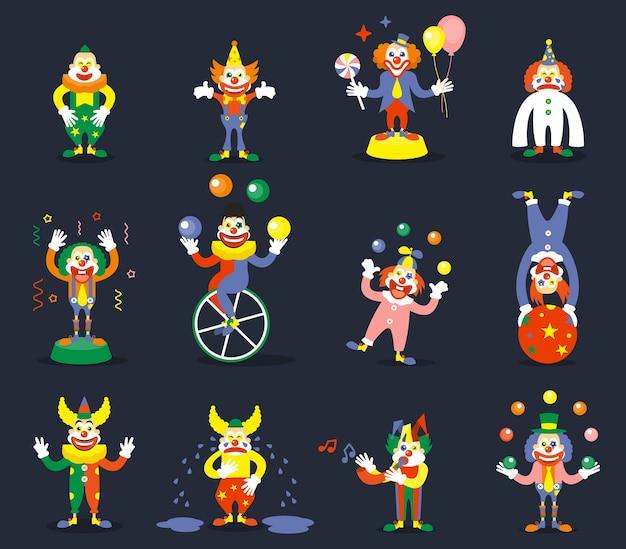 Набор символов вектора клоун. улыбайся или плачь, жонглируй исполнителем, шоу-карнавал, комик и шутник Бесплатные векторы