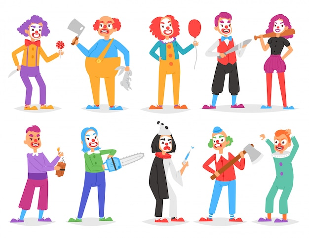 Clown vector scary clownish character clowning on performance in circus with ax or sword and cartoon man of clownery illustration set of creepy perfomers isolated on white background Premium Vector