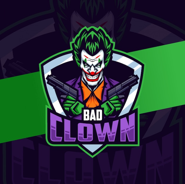 Clown with gun mascot esport logo design Premium Vector