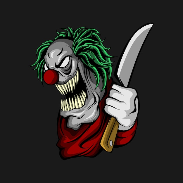 Clown with a knife Premium Vector