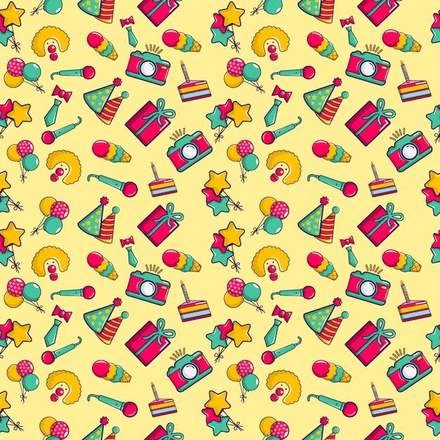 Clownery pattern seamless, cartoon style Premium Vector