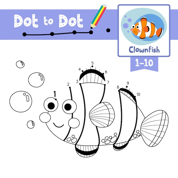 Clownfish dot to dot game and coloring book Premium Vector
