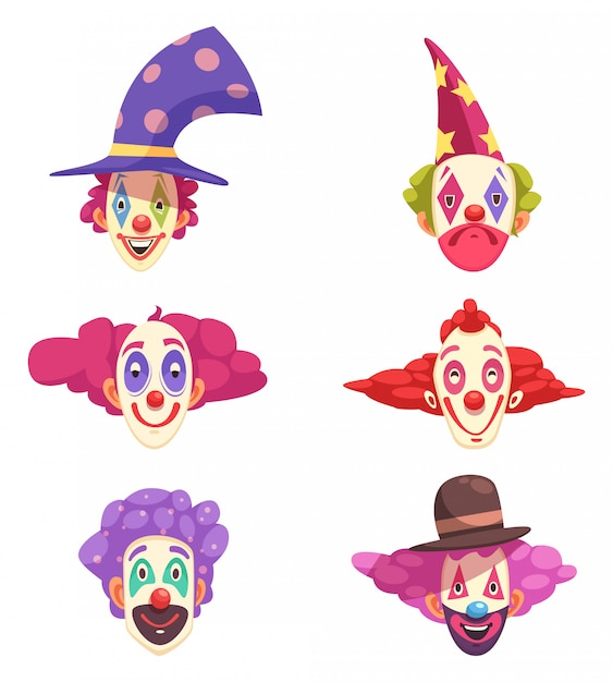 Clowns masks set Free Vector
