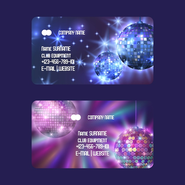 Club equipment for disco show shop or store set of business cards life begins at night Premium Vector