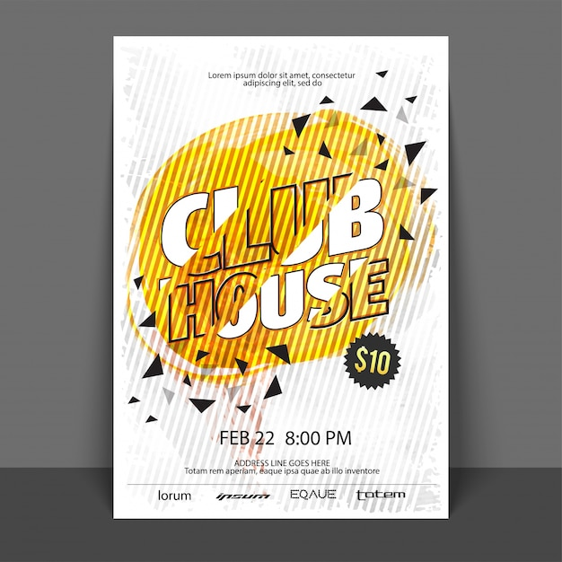 Club House Music Party Flyer Template Or Banner With Abstract