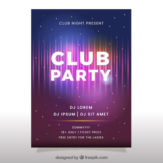 club party poster with neon style vector free download. Black Bedroom Furniture Sets. Home Design Ideas