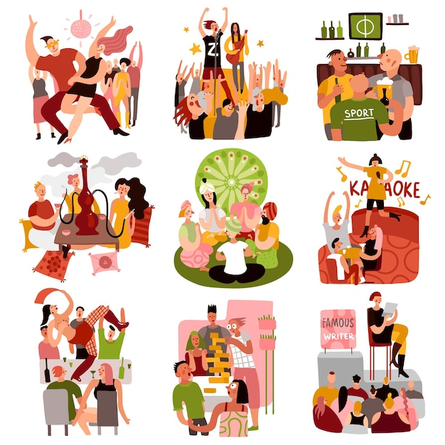 Club party set with dancing games and karaoke symbols flat isolated vector illustration Free Vector