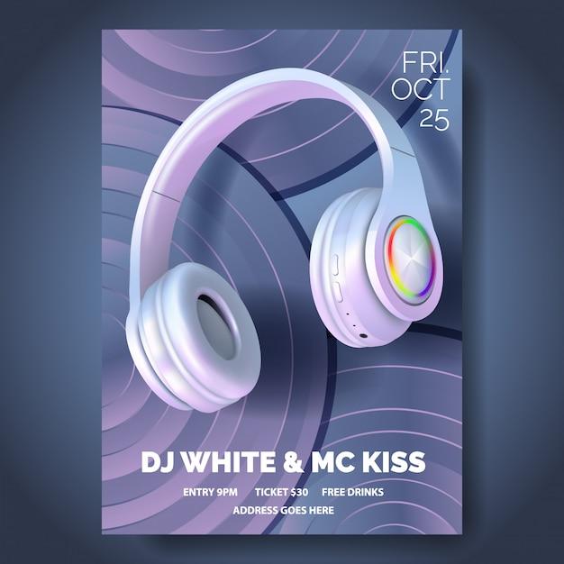 Клубный плакат с наушниками, Premium векторы