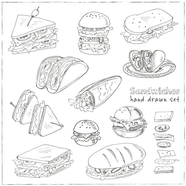Клубный сэндвич, чизбургер, гамбургер, деликатес, ролл с пленкой, тако, багет, бублик, тосты Premium векторы
