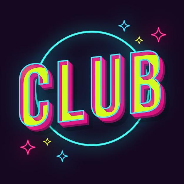 Club vintage 3d lettering Premium Vector