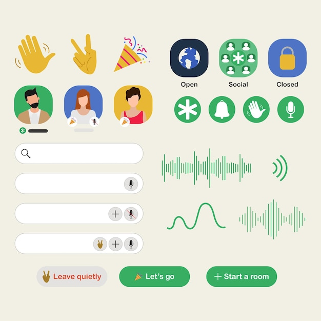 Приложение clubhouse для добавления аудио-чата на смартфон. Бесплатные векторы
