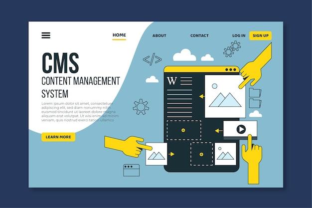 Плоский дизайн целевой страницы cms Premium векторы