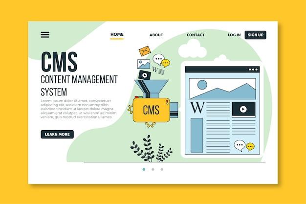 Cms веб-шаблон плоский дизайн Premium векторы